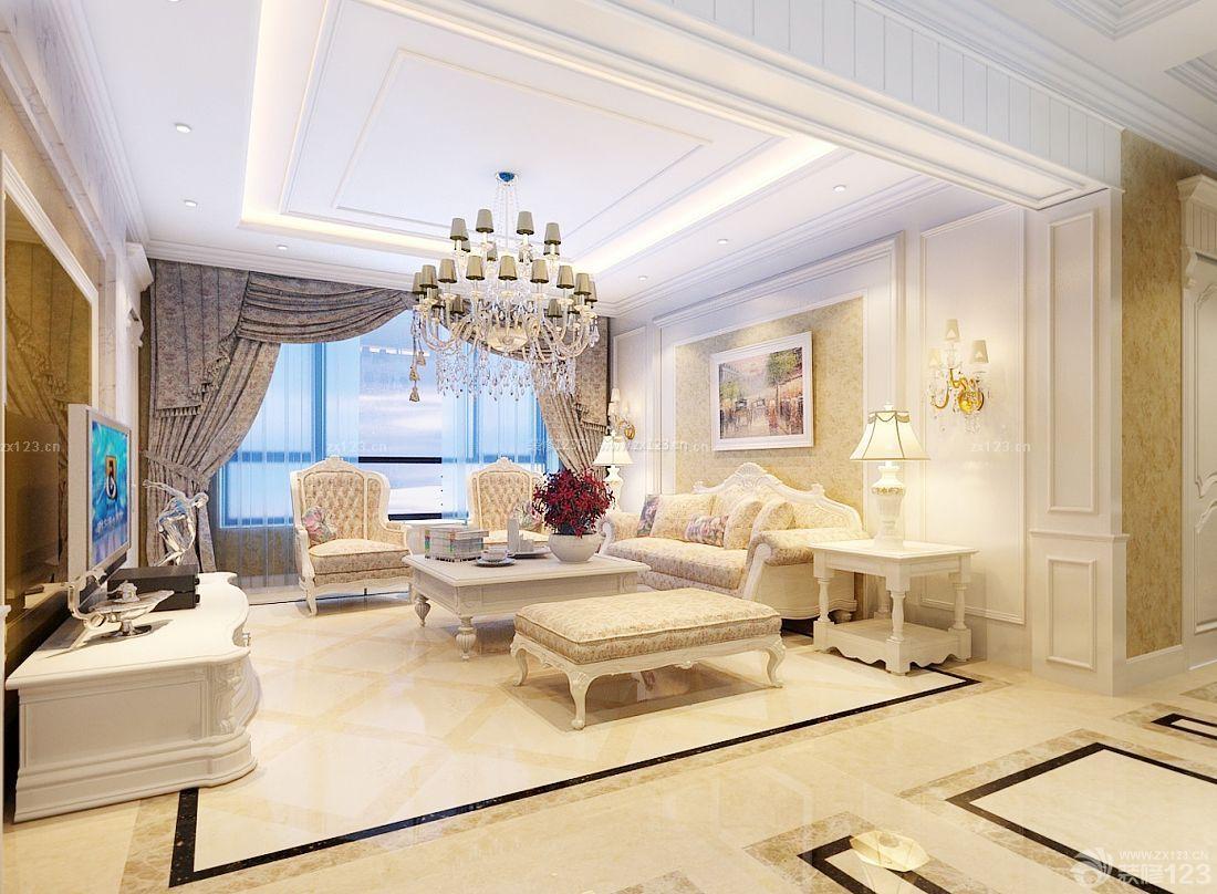 欧式室内家装风格客厅石膏线吊顶效果图图片