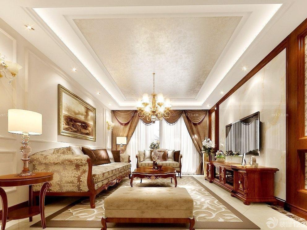 世界豪华别墅客厅石膏线吊顶效果图_装修123效果图图片