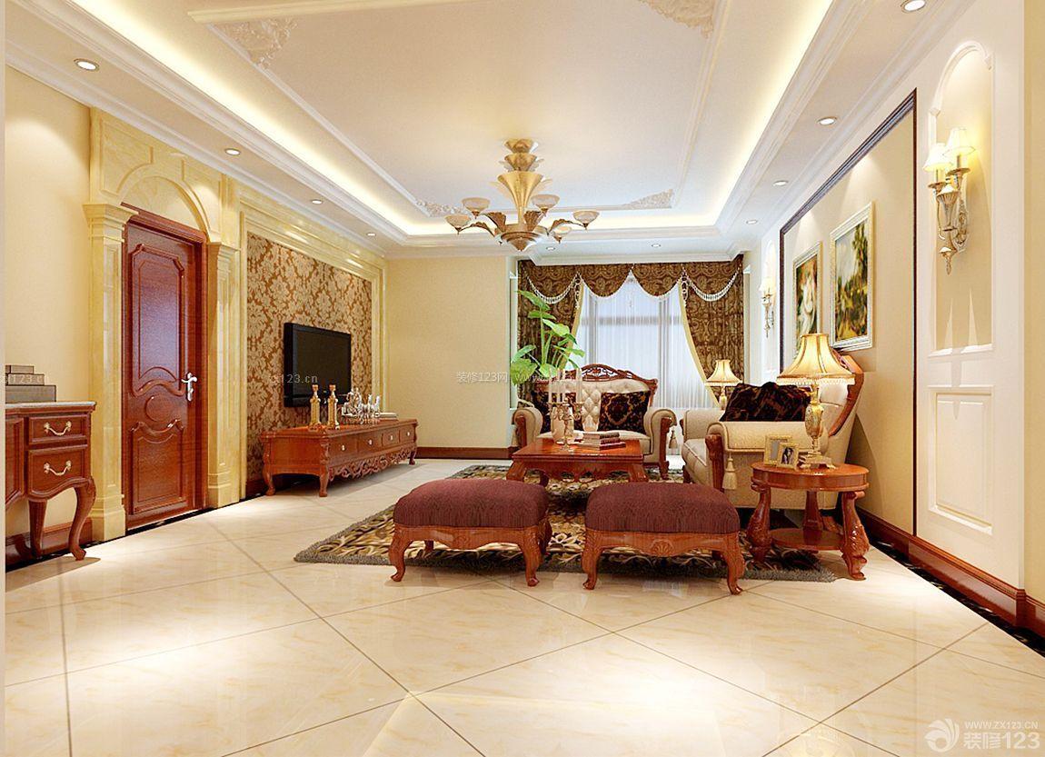 美式别墅设计客厅石膏线吊顶效果图