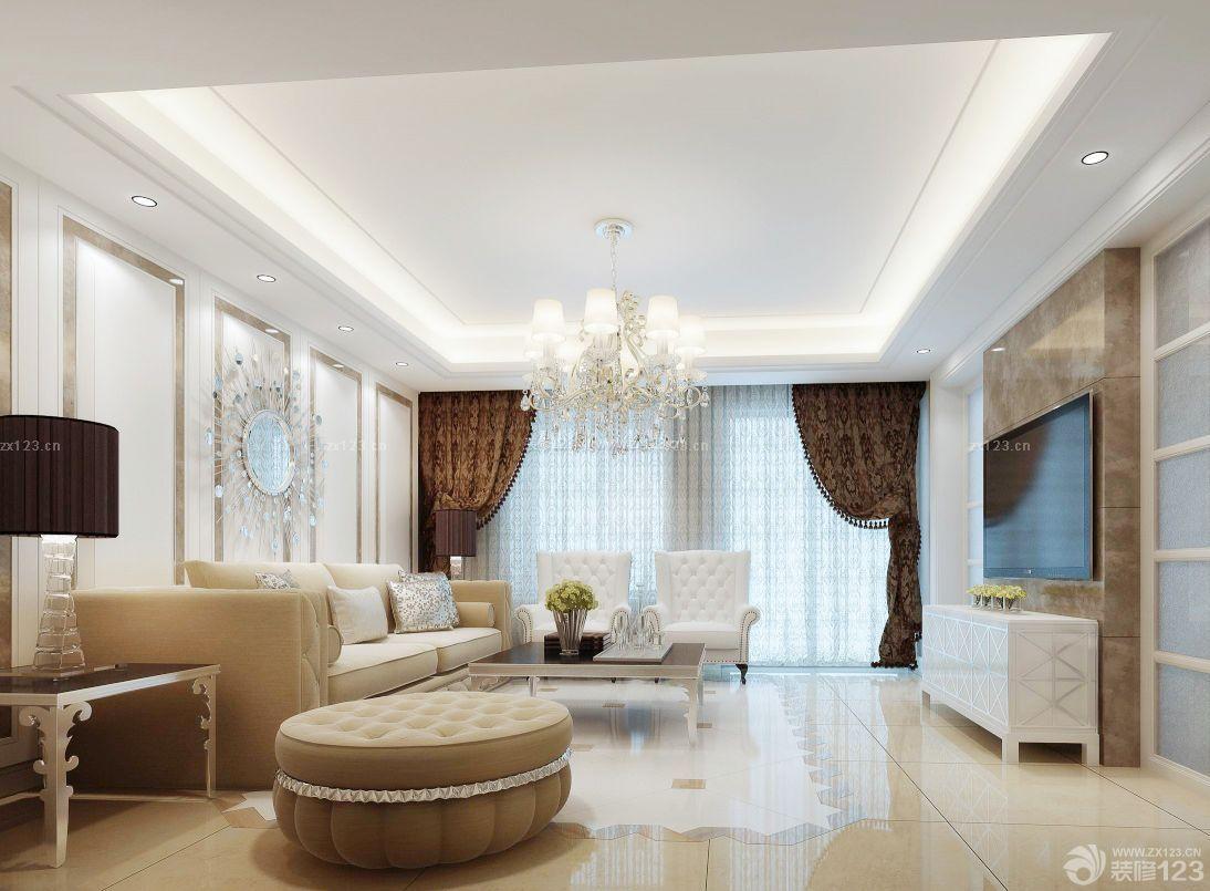 农村两层别墅设计客厅石膏线吊顶效果图