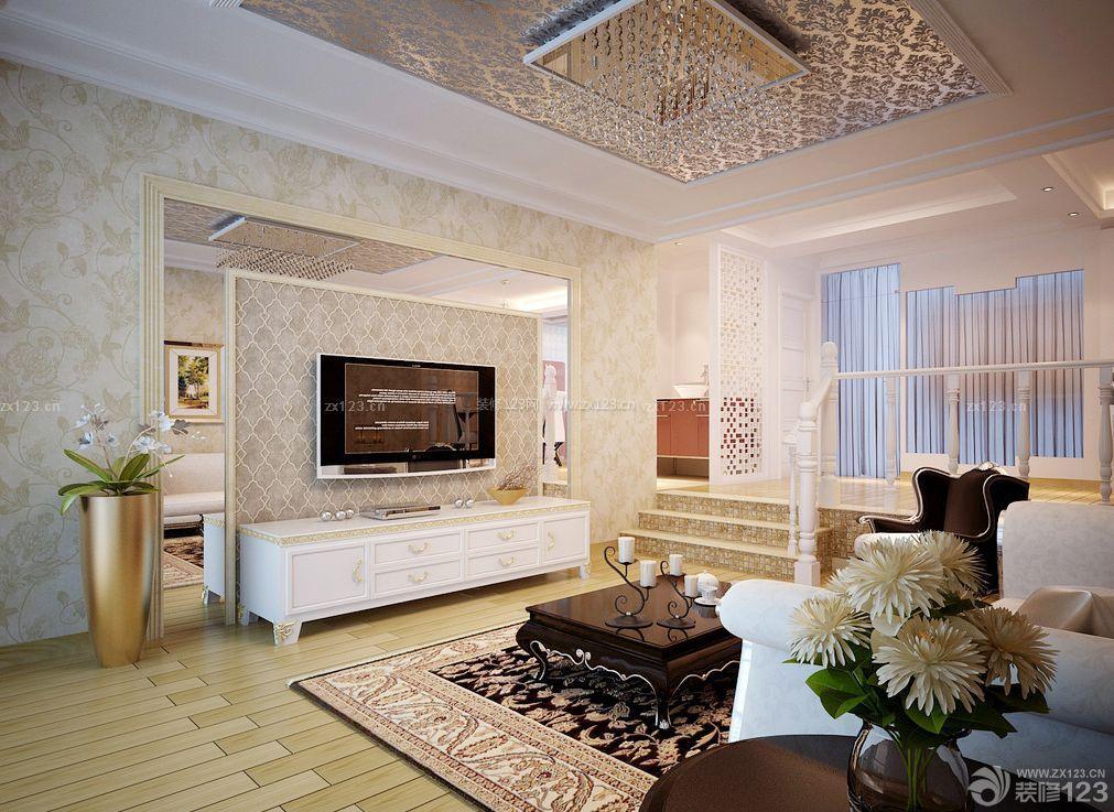 欧式错层式住宅客厅电视背景墙装修效果图片图片