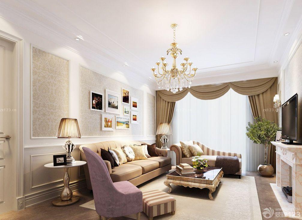 简约欧式风格客厅电视背景墙效果图图片
