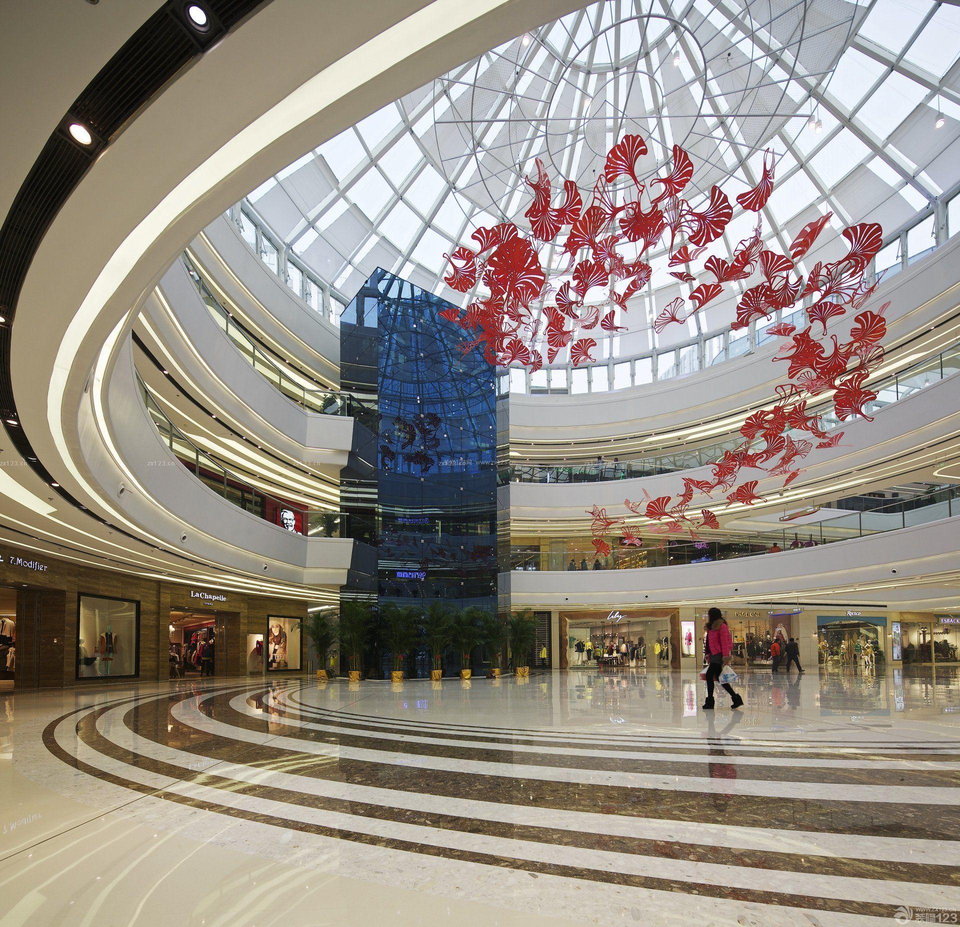 大型商场中庭盆栽植物设计效果图片