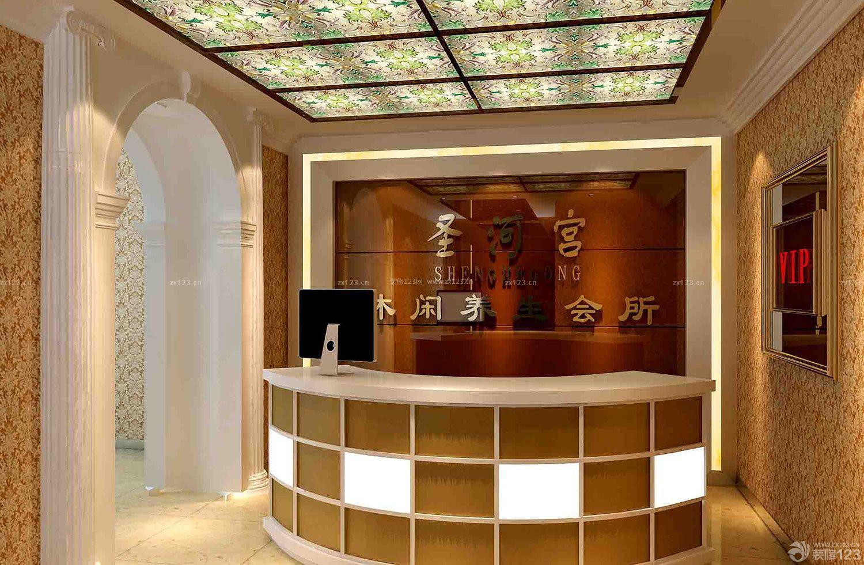 美容院泰式风格背景墙造型设计装修效果图片