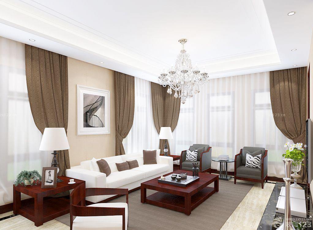 现代中式客厅水晶灯装修效果图大全2015图片图片