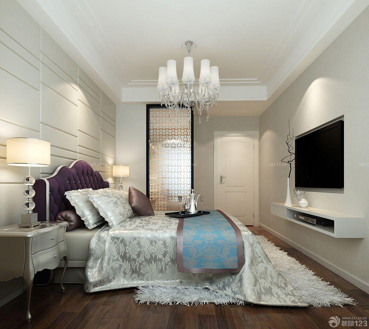 卧室电视背景墙玻璃推拉门设计图片