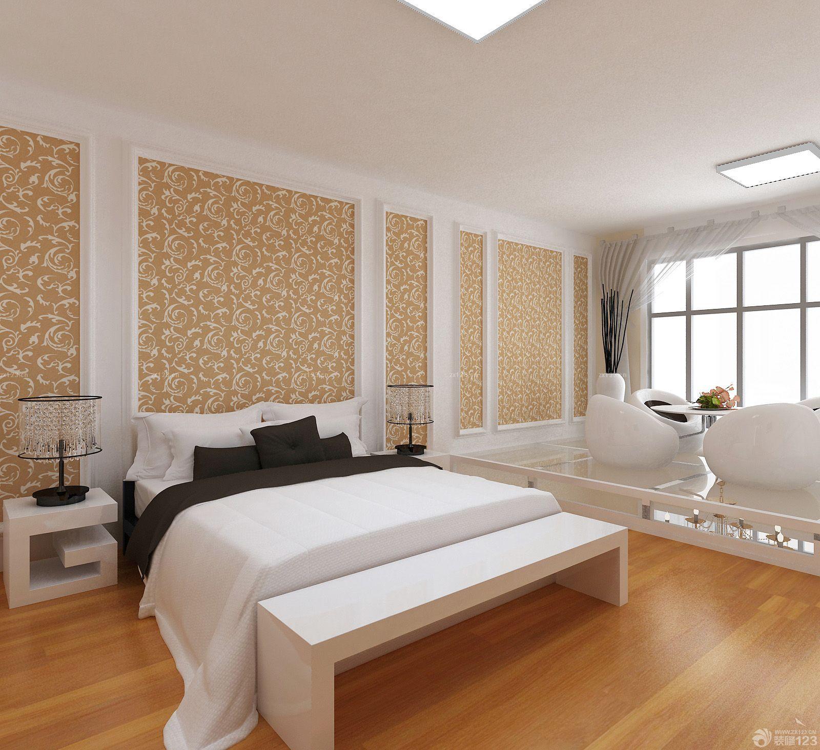 现代欧式风格卧室背景墙设计装修效果图大全