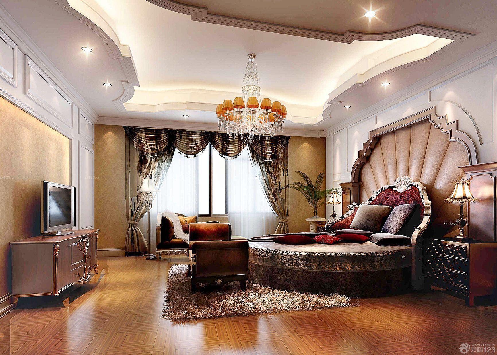 欧式古典风格圆床卧室装修效果图