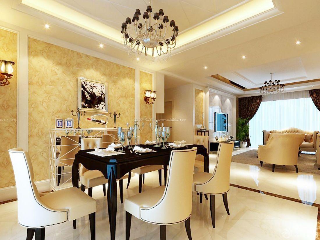 欧式家装客厅连餐厅吊顶效果图图片