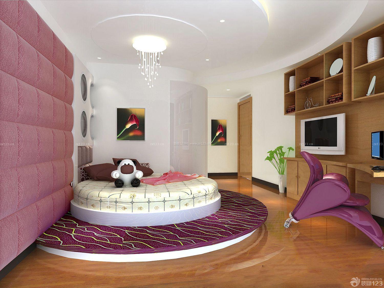 圆床卧室床头背景墙装修效果图片