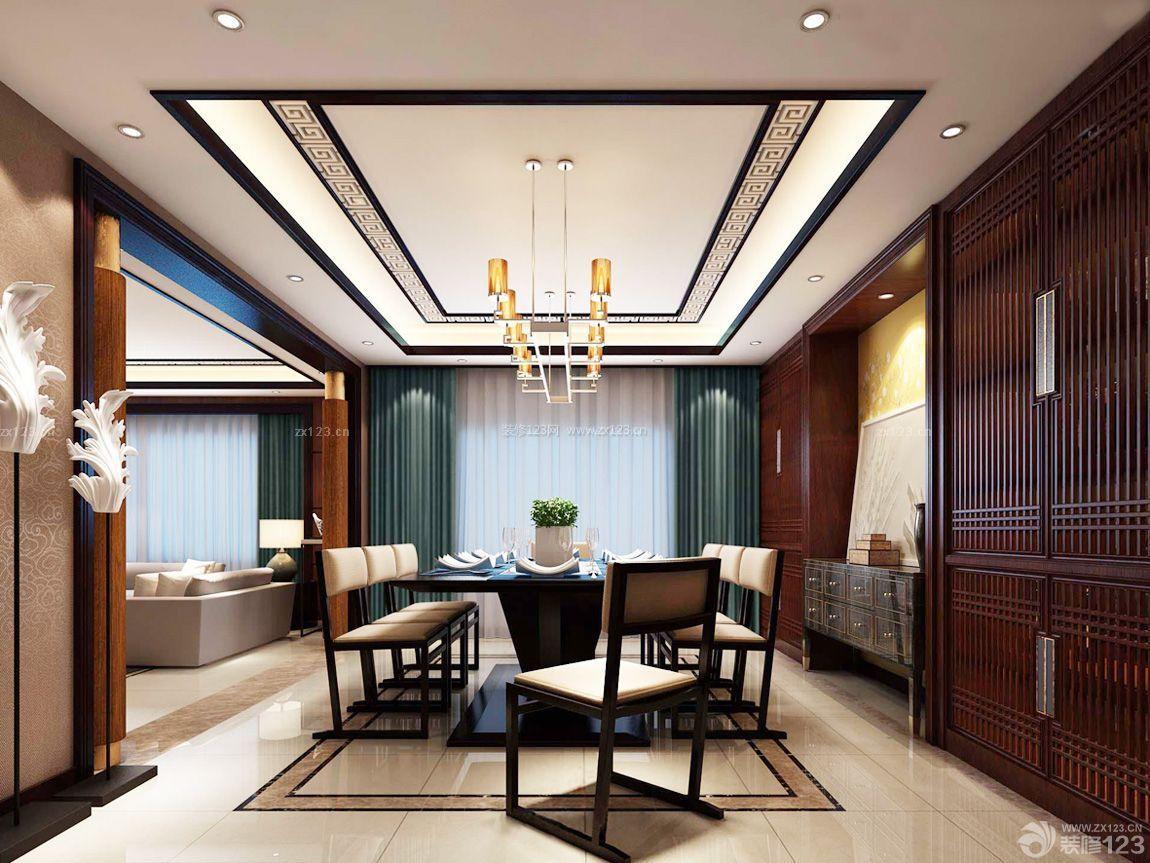 现代简约装修风格客厅连餐厅吊顶效果图