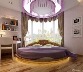 2017地中海风格别墅圆床卧室装修效果图图片