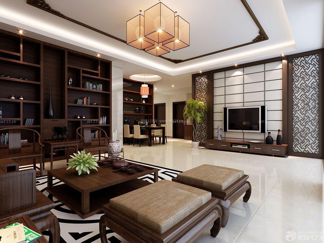 现代中式风格长方形客厅吊顶效果图图片