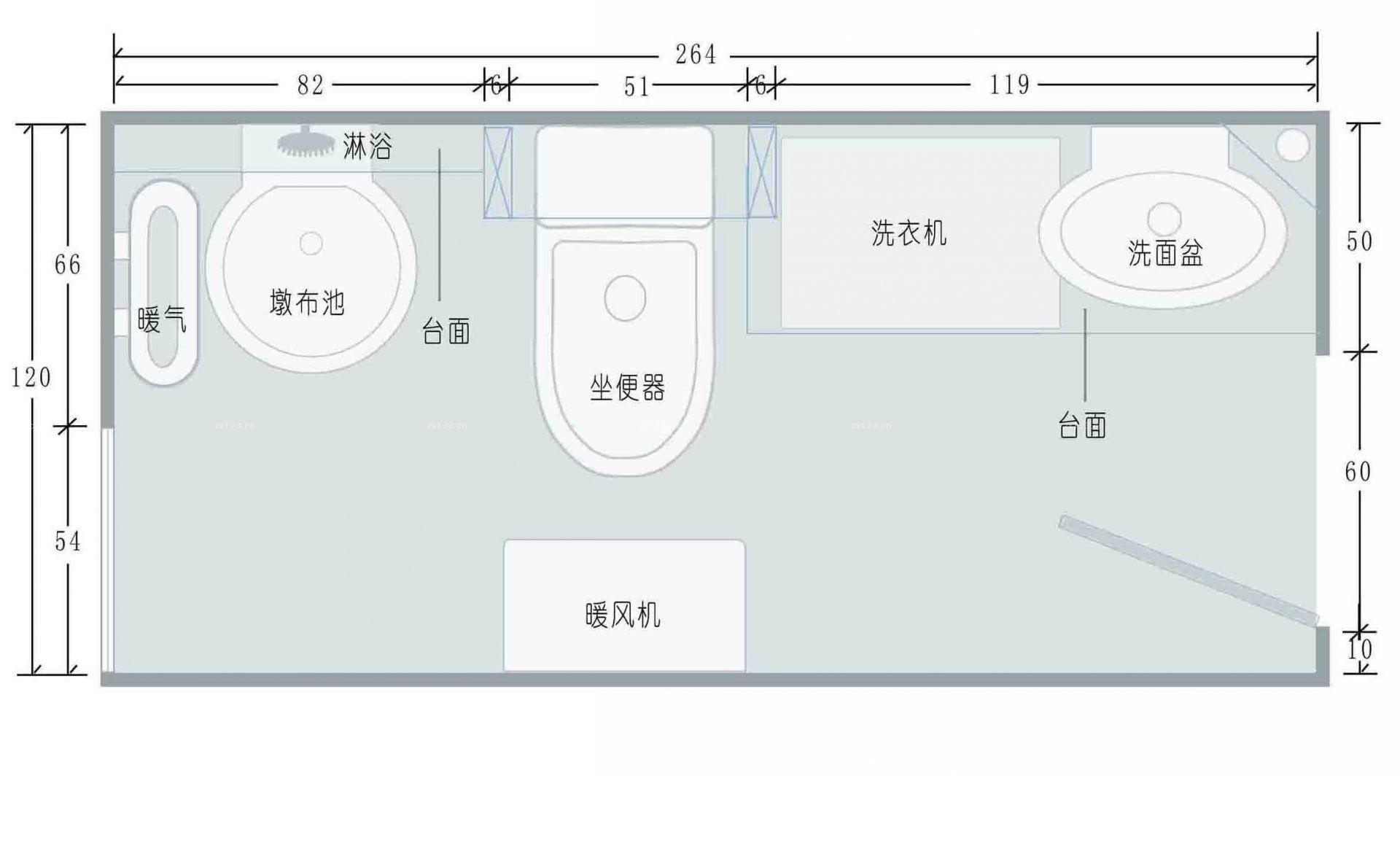 最新商场公共卫生间平面图设计