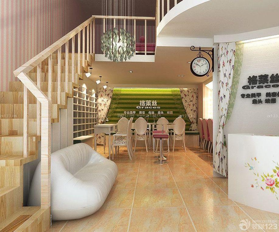 商场美甲店室内楼梯设计装修效果图