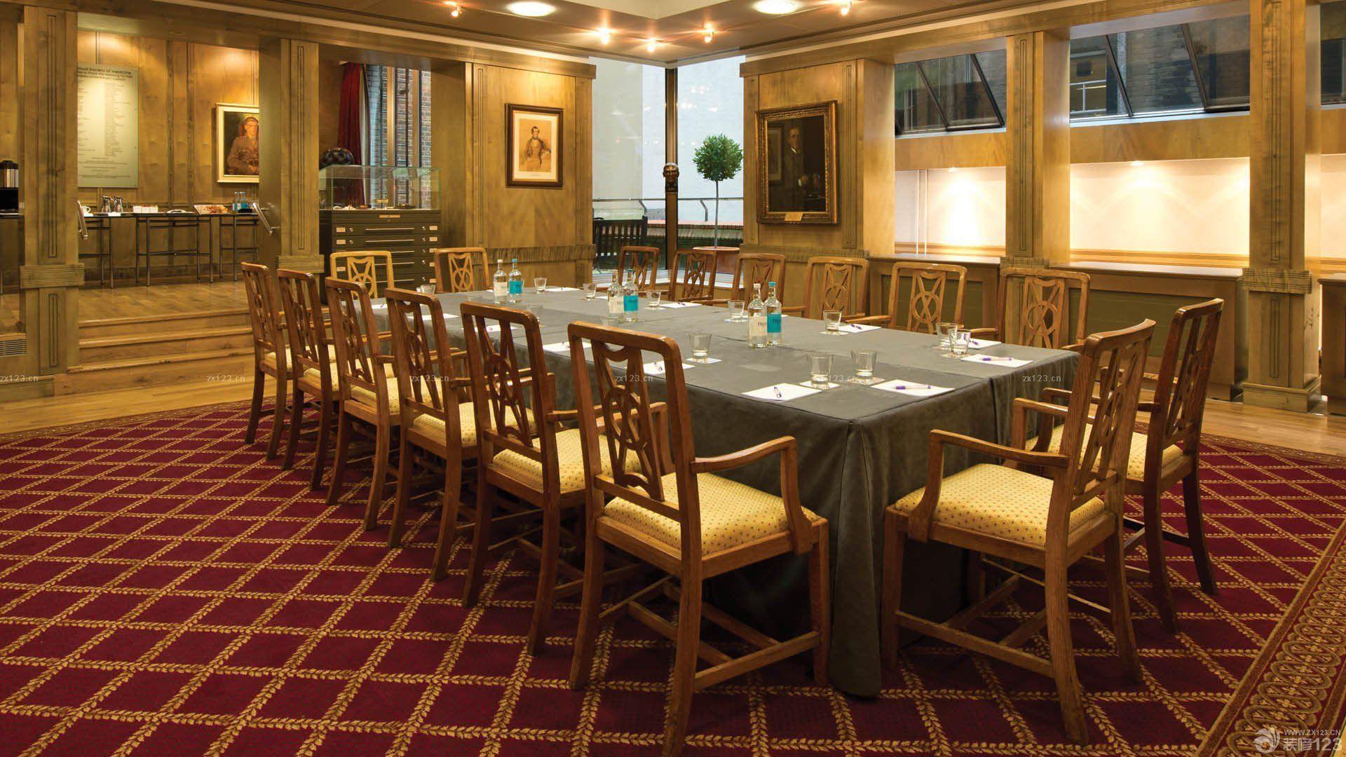 中式会议室柱子装修效果图