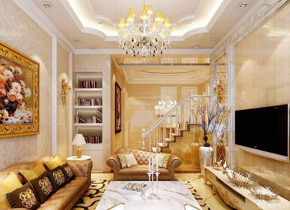 农村两层球星样式装修别墅设计图_吊顶123效NBA自己客厅买地建别墅图片