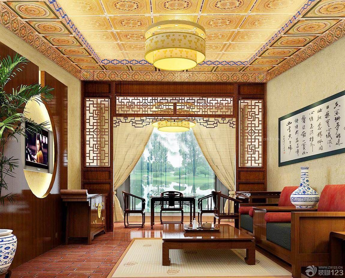 中式别墅客厅吊顶样式图片大全