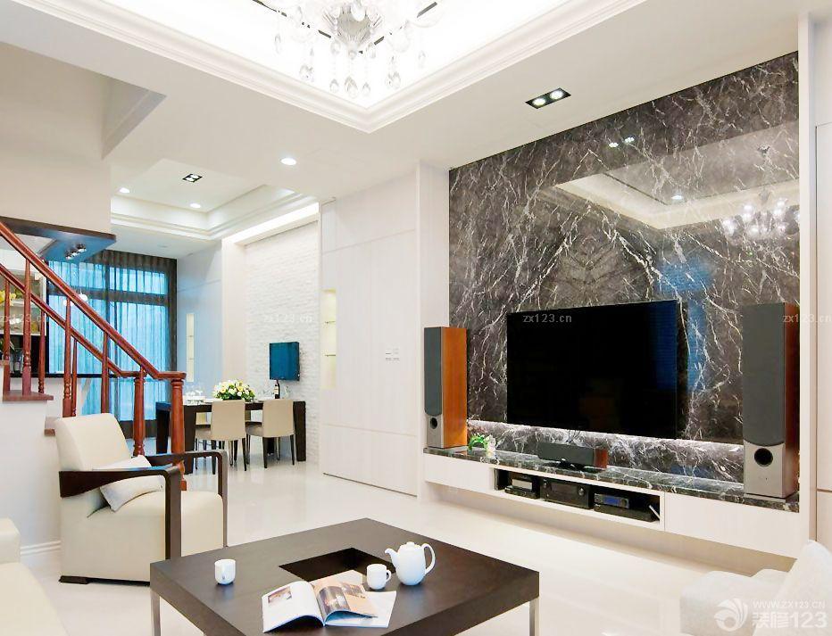 两层别墅客厅石材电视背景墙效果图片大全