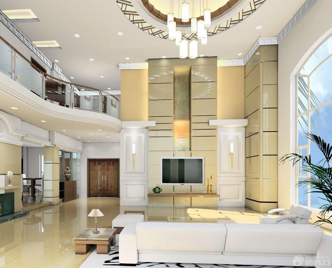 复式别墅客厅石材电视背景墙效果图图片