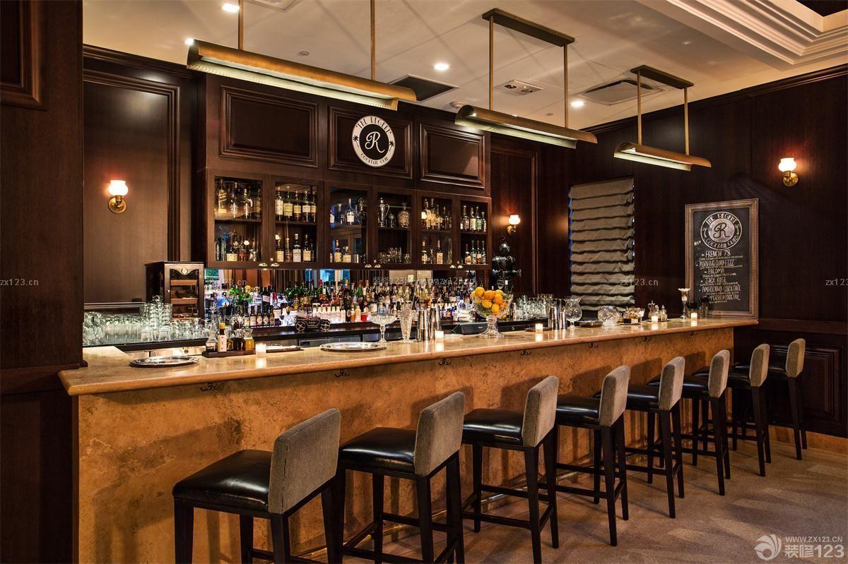经典酒吧吧台酒架装修效果图片