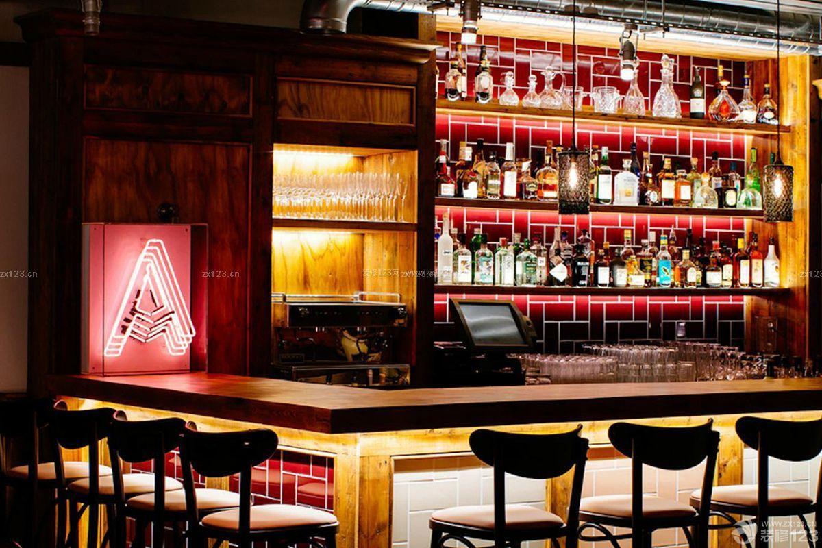 酒吧吧台灯光设计装修图片