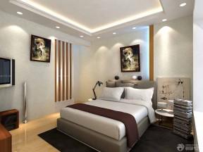 别墅卧室装修效果图 压纹壁纸装修效果图片