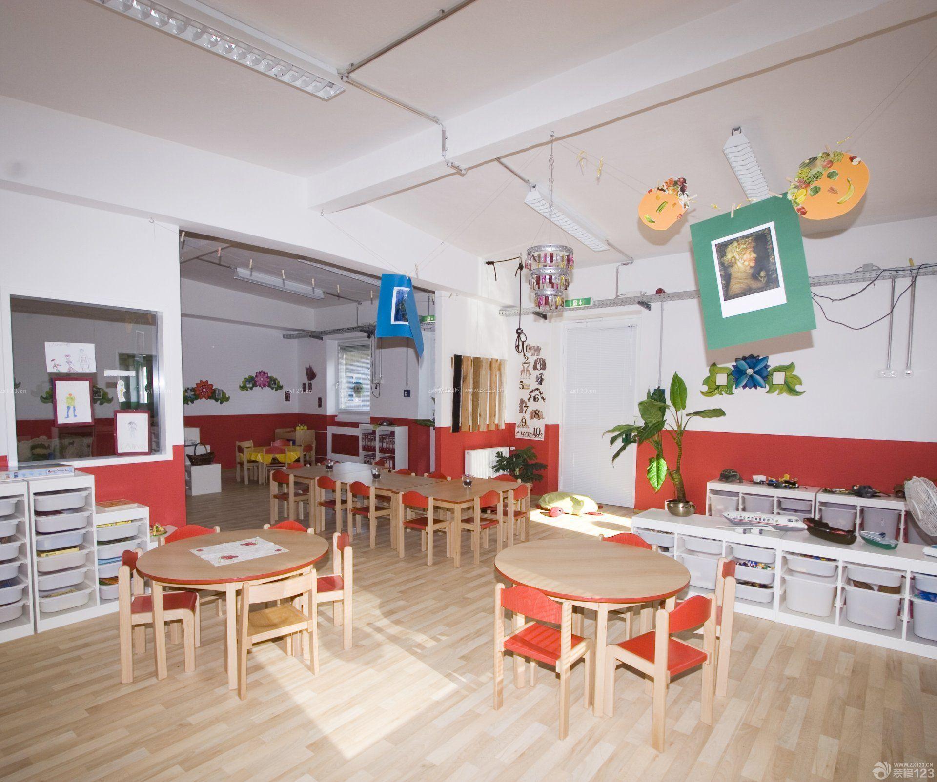 最新幼儿园设计室内原木地板装修效果图片