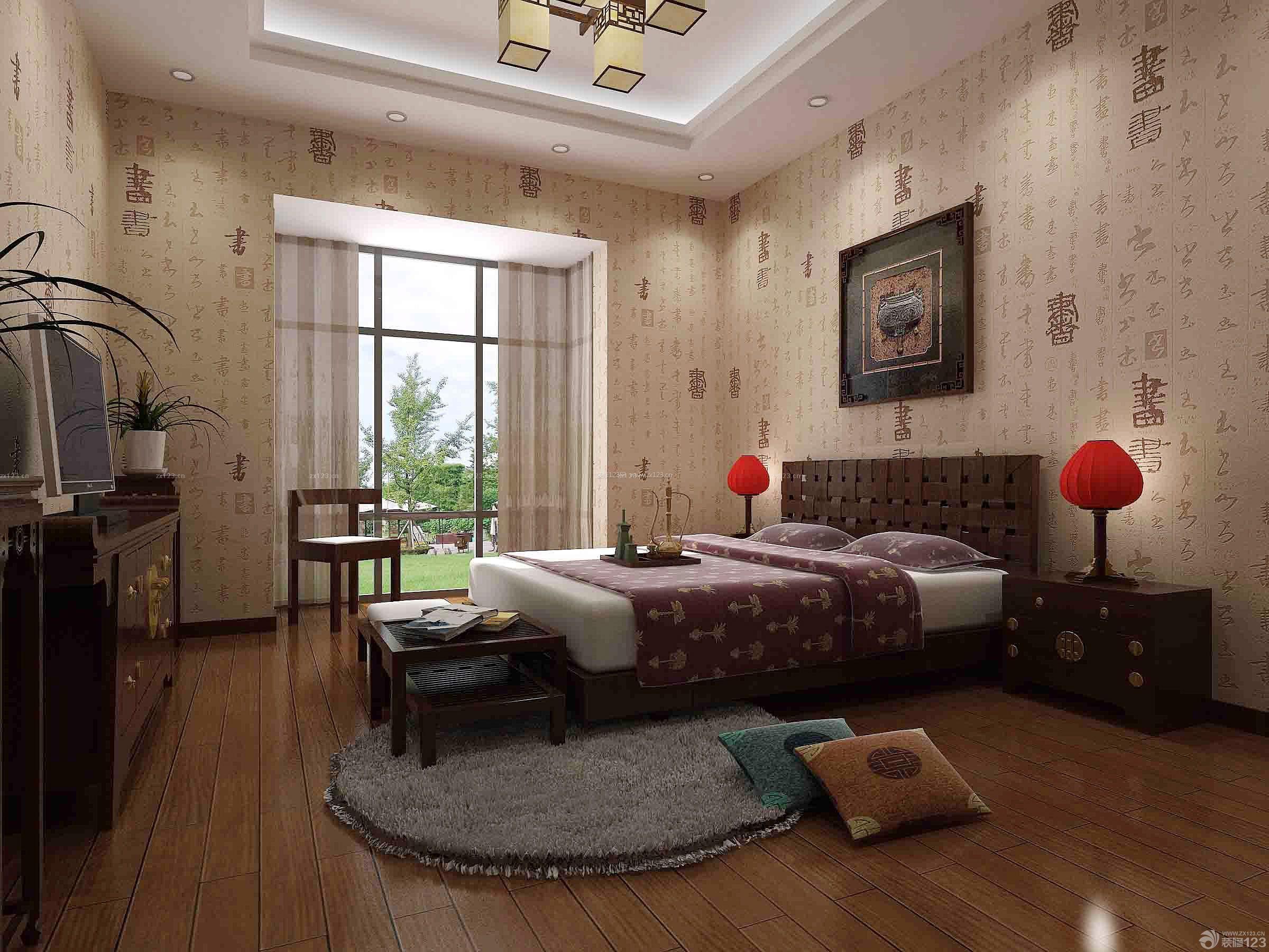 中式卧室壁纸装修效果图片