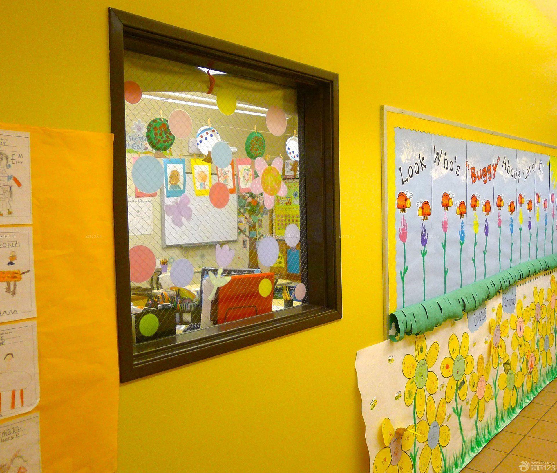 国外幼儿园室内黄色墙面装修效果图片