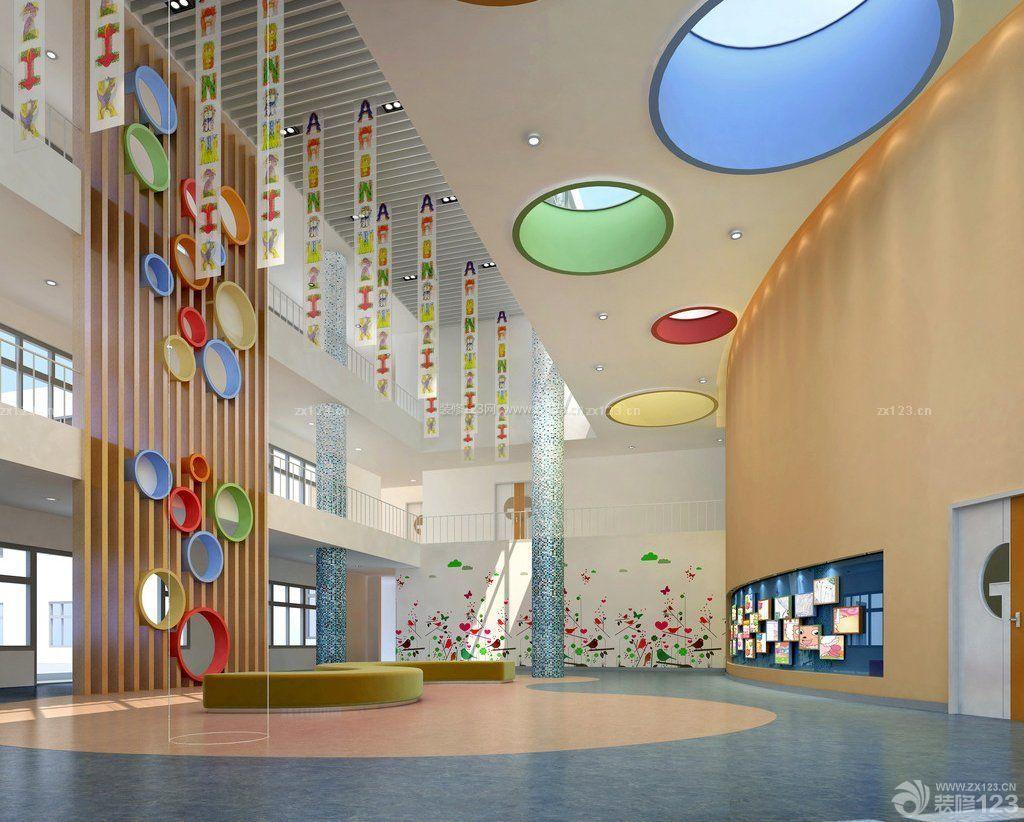 大型幼儿园大厅天花板吊顶装修效果图片