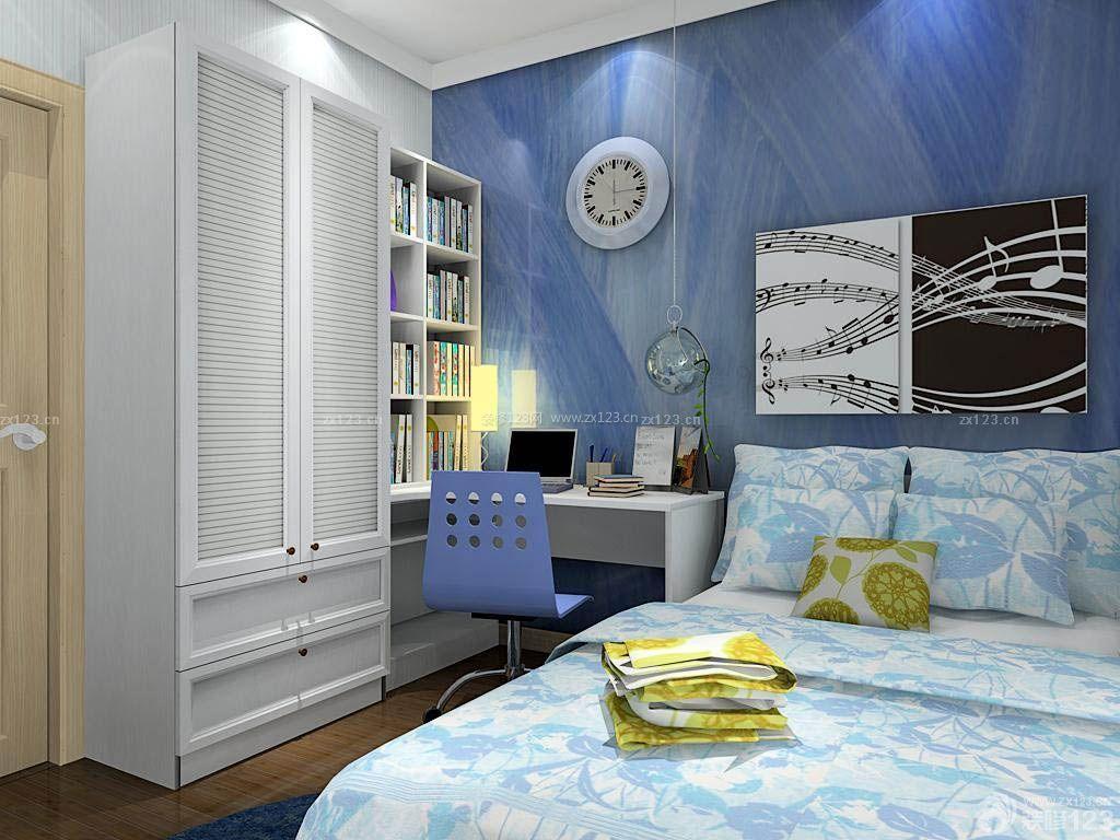 蓝色男生卧室装修设计效果图