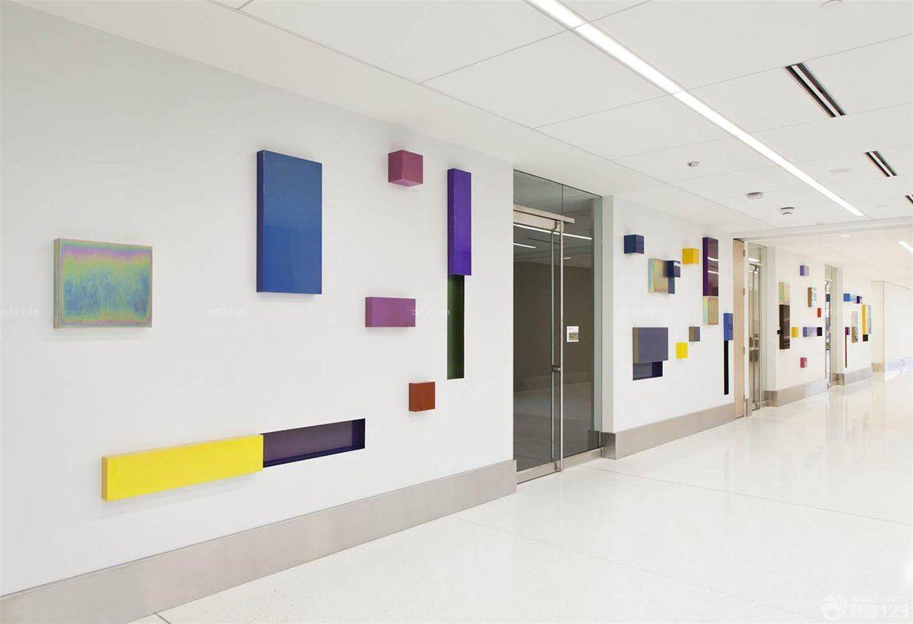 2016医院走廊白色背景墙面装修效果图片