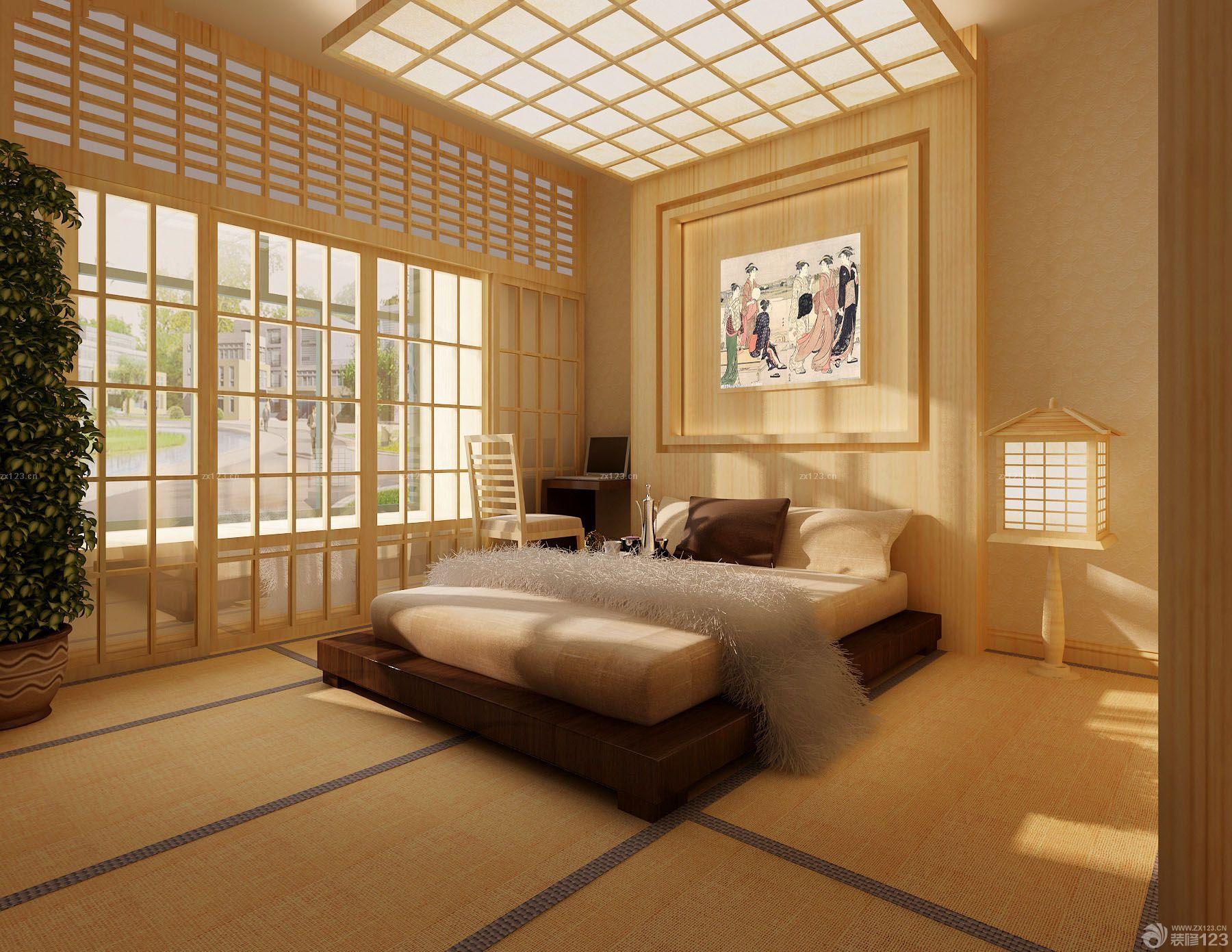 日式卧室吊顶造型装修效果图片