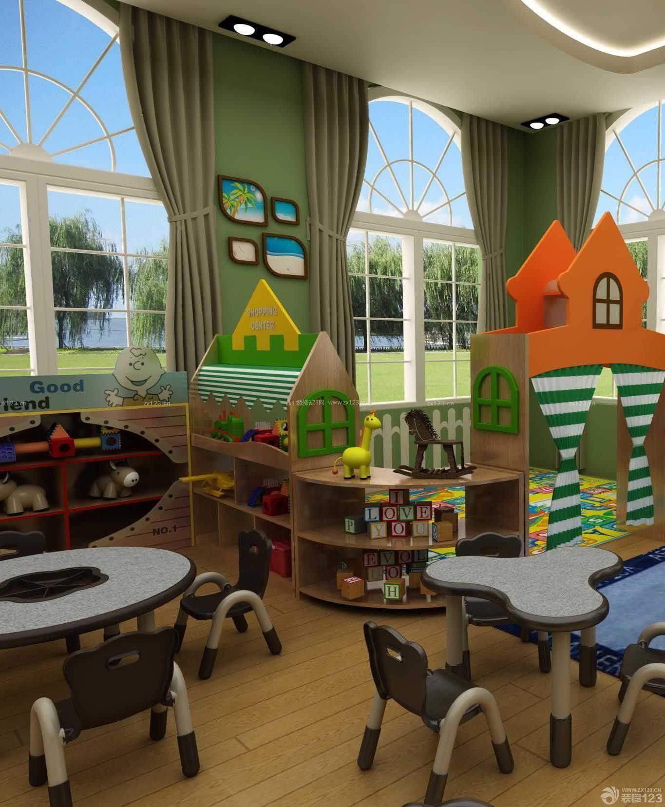 最新幼儿园室内浅色木地板装修效果图