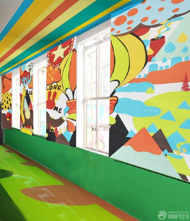 幼儿园过道背景手绘墙壁画设计图片