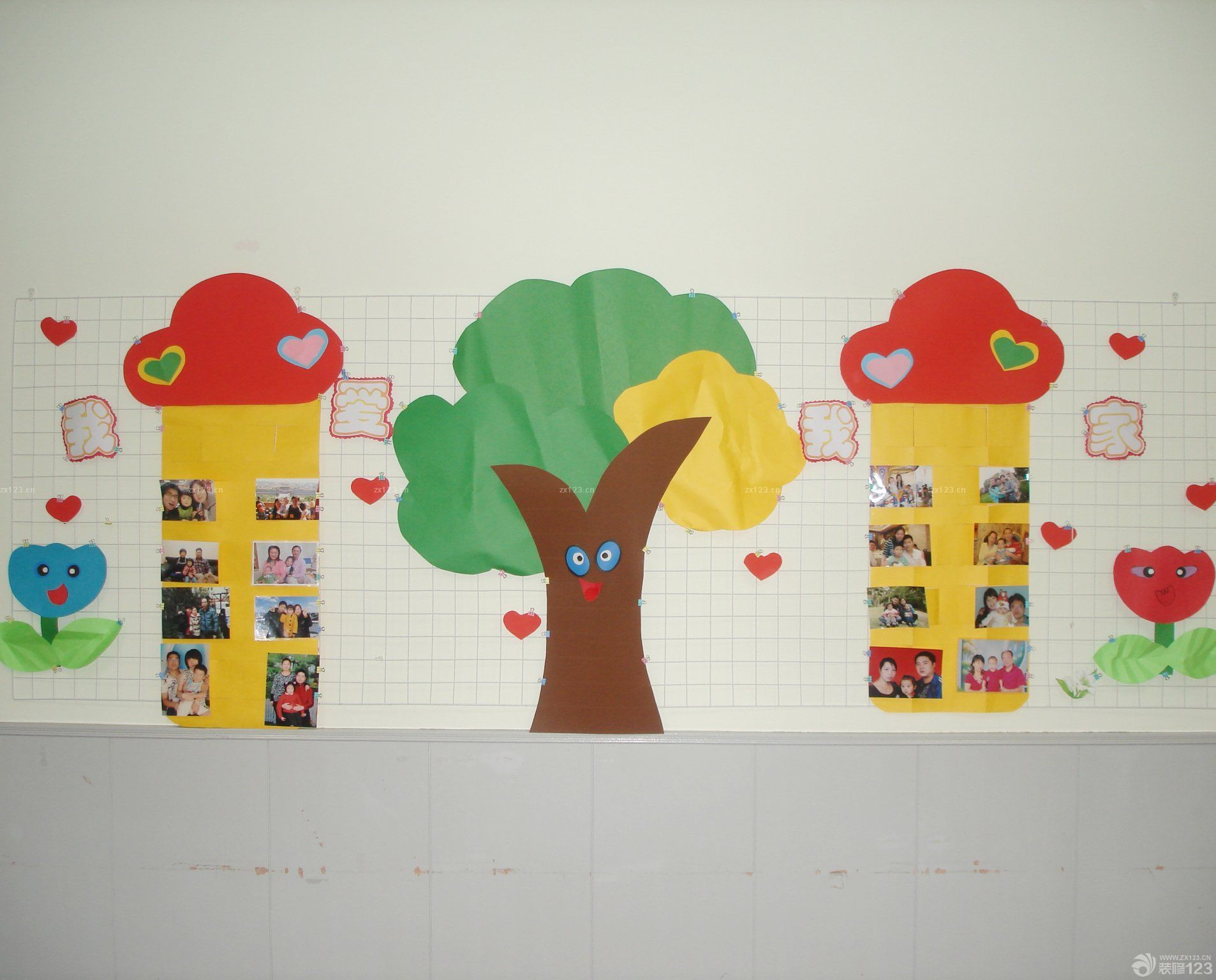 现代幼儿园照片墙设计效果图