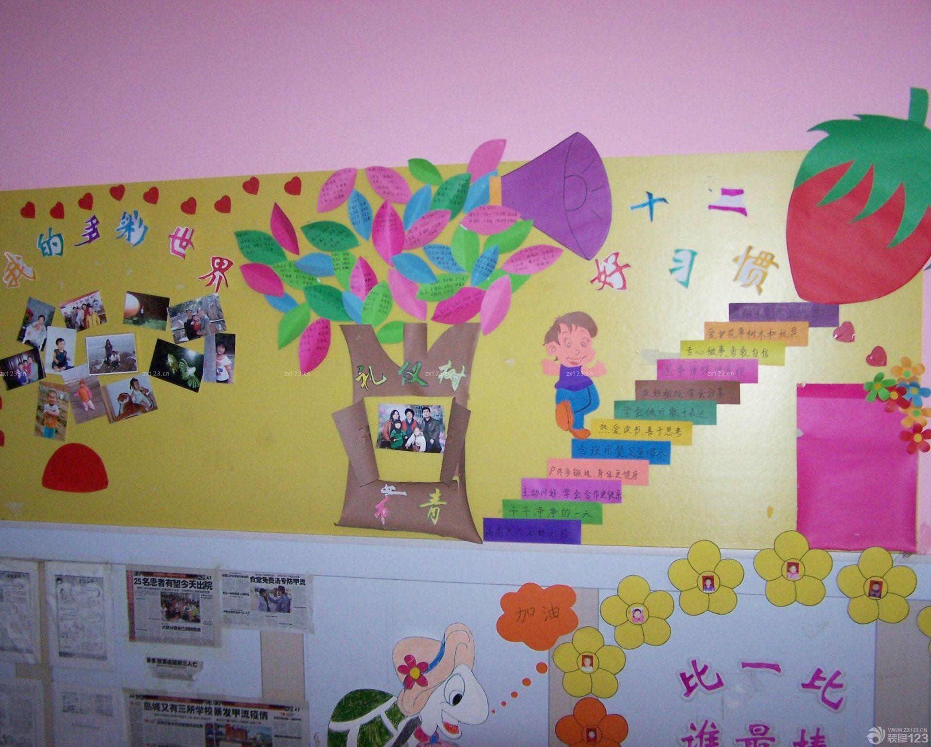 幼儿园室内照片墙设计效果图片