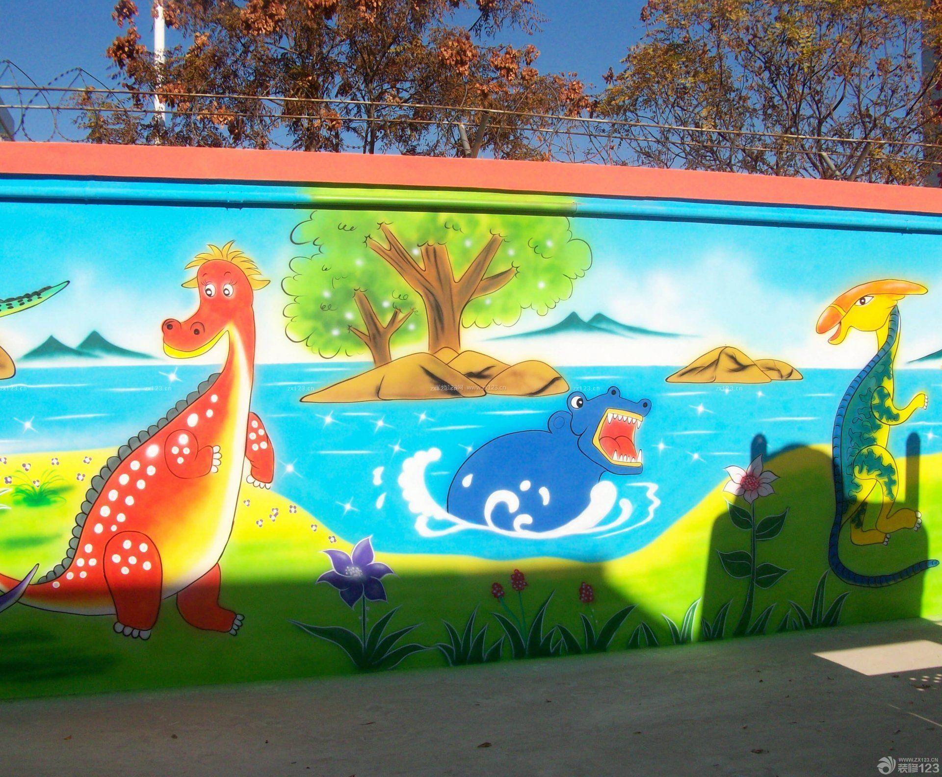 幼儿园手绘墙壁画室内设计图