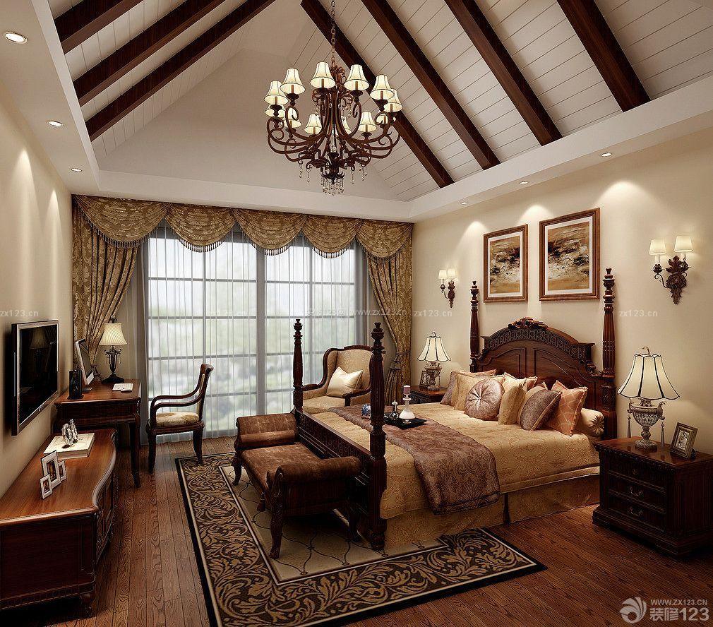 美式别墅斜顶卧室装修效果图图片