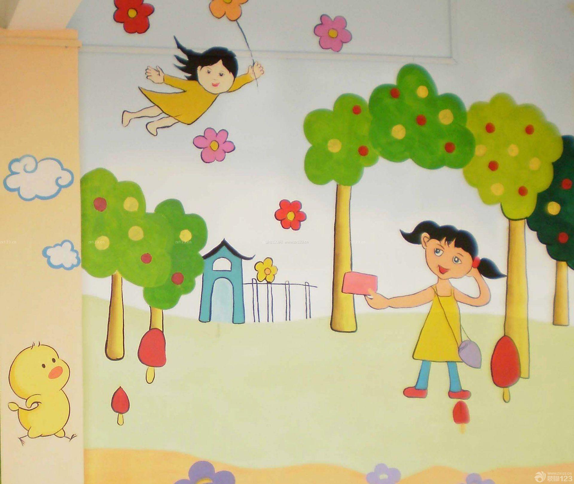 现代幼儿园手绘墙壁画图片