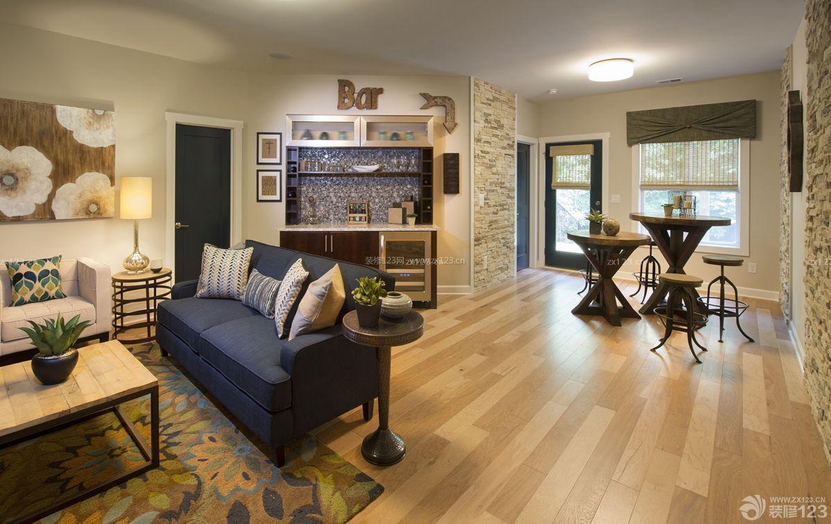客厅酒吧实木地板贴图装修效果图