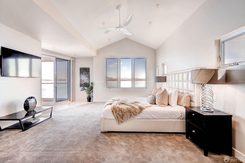 现代尖顶卧室装修效果图大全2015图片