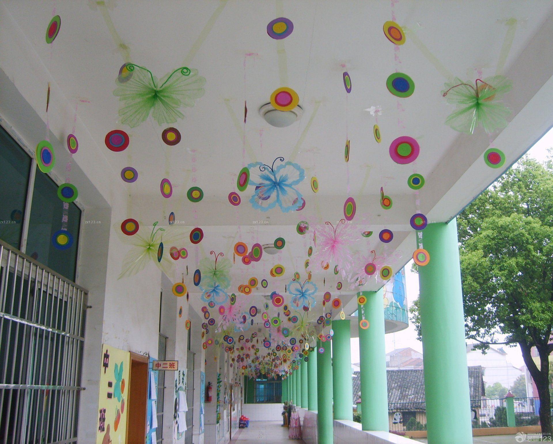 现代简约幼儿园走廊吊顶装饰设计图片