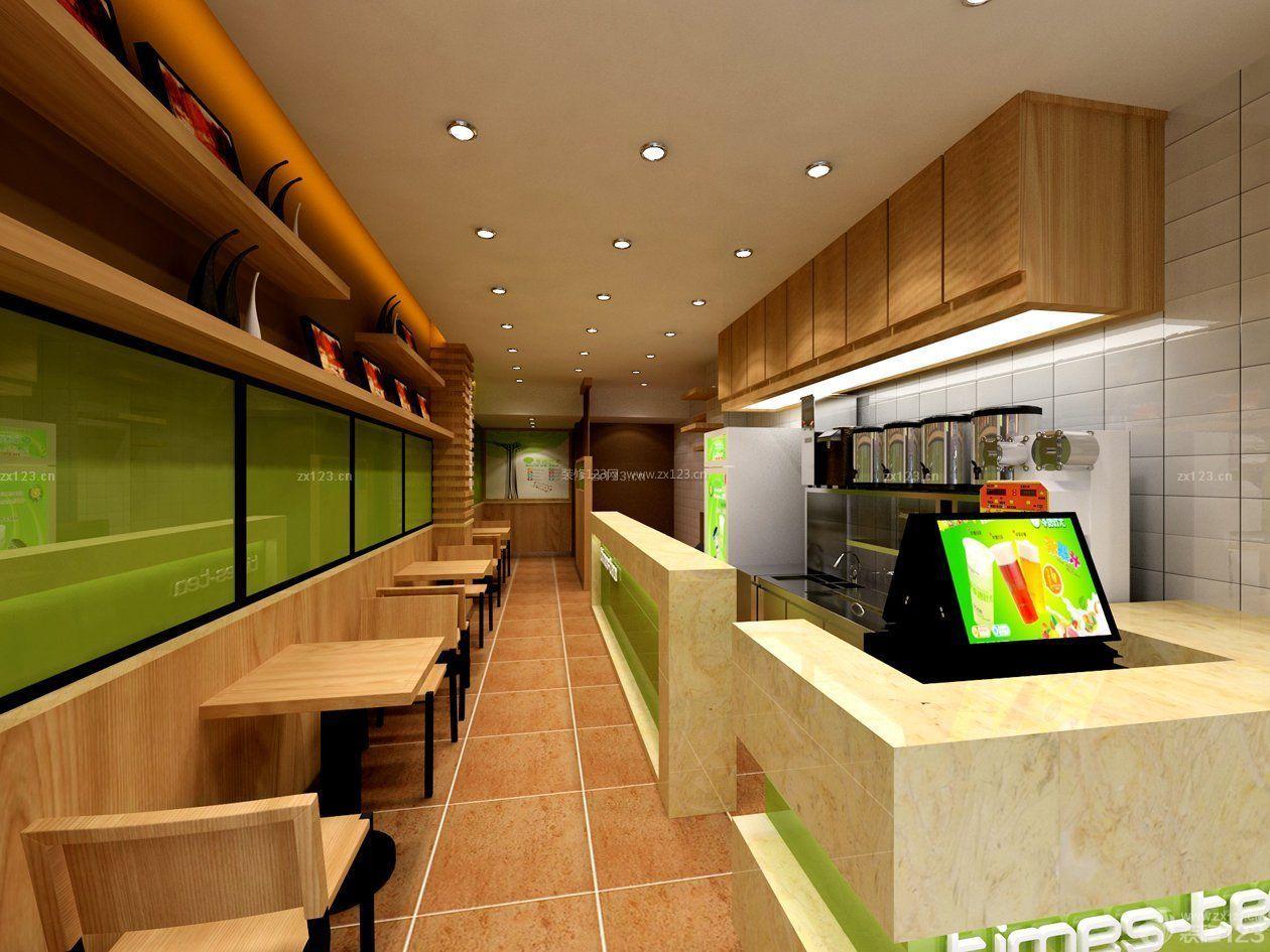 休闲奶茶店面吧台装修风格效果图图片