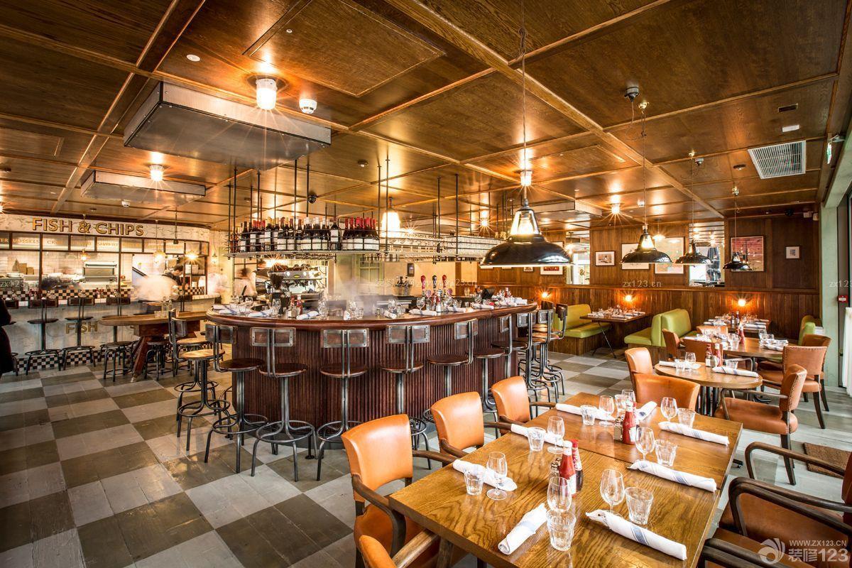 美式酒吧木质吊顶装修效果图大全图片