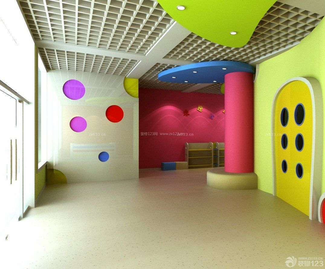 高档幼儿园教室置物架装修效果图片