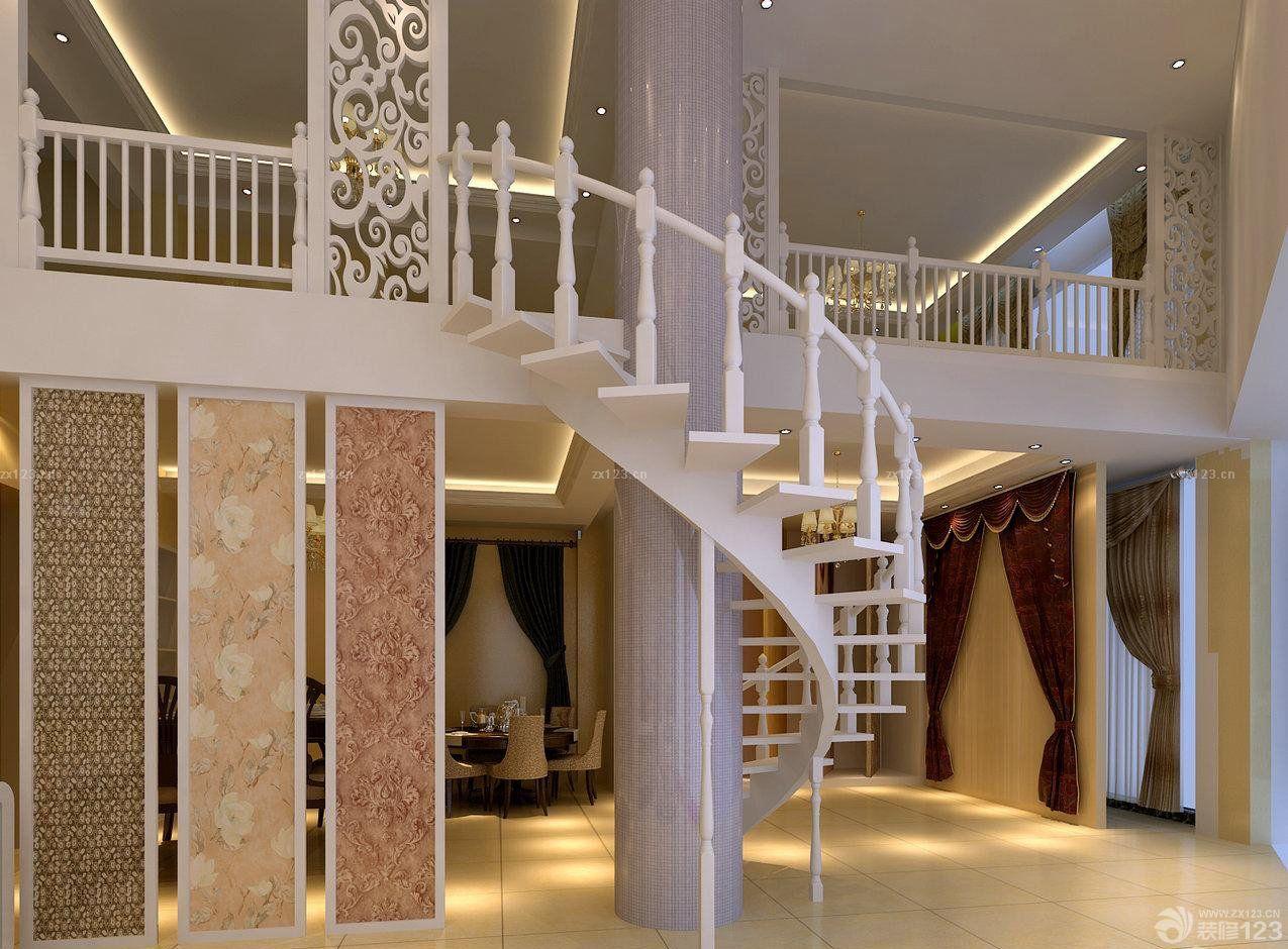 壁纸店面室内旋转楼梯装修图片