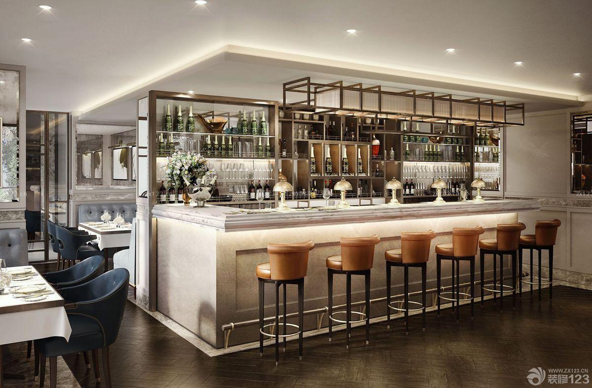 现代简约酒吧吧台设计装修图