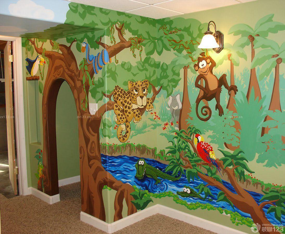 幼儿园室内手绘墙设计效果图图片